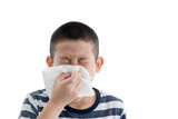 Flu cold or allergy symptom.Sick young asian boy with fever snee