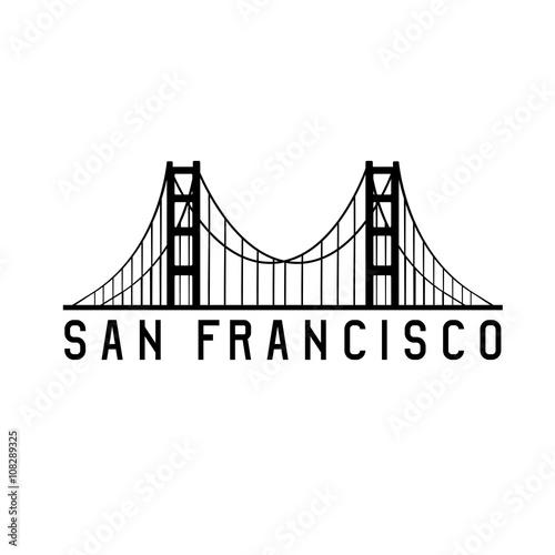 Poster golden gate bridge in san francisco vector design illustration