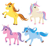 Vector illustration of colorful horse, pony and unicorn.