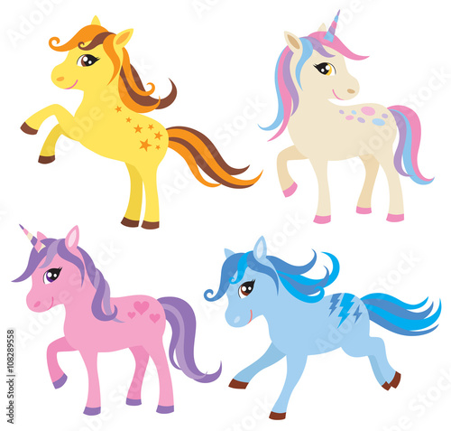 Fototapeta Vector illustration of colorful horse, pony and unicorn.