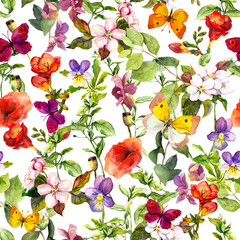 Meadow flowers and butterflies repeating pattern. Watercolor
