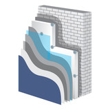 Fototapety Thermal Insulation. Polystyrene Isolation Vector Illustration