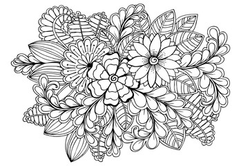 Black and white adult coloring page with flowers and leaves