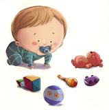 bebe jugando con juguetes
