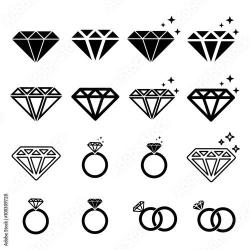 zestaw ikon czarny diament