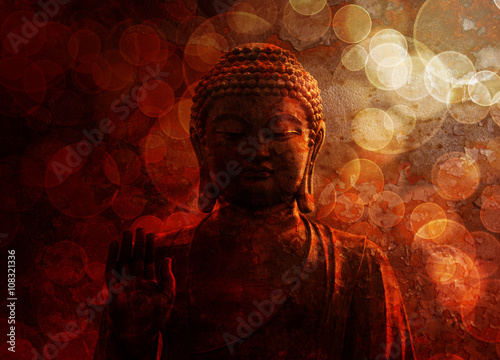Foto op Canvas Zen Bronze Red Zen Buddha Statue Raised Palm