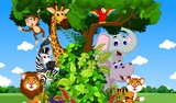 funny animals on the tree with forest landscape background