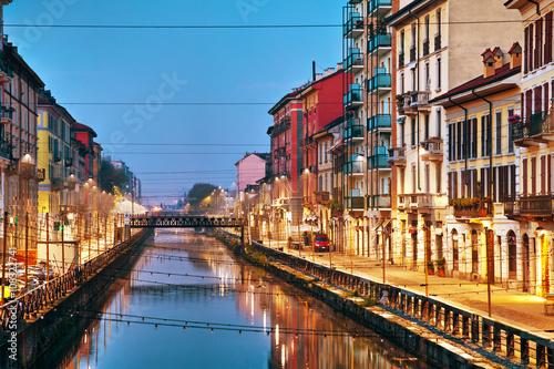Fotobehang Milan The Naviglio Grande canal in Milan, Italy