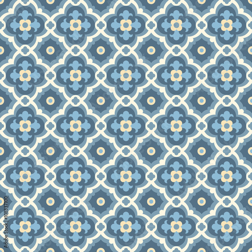 Retro Floor Tiles patern in blue, white and golden colors - 108337100
