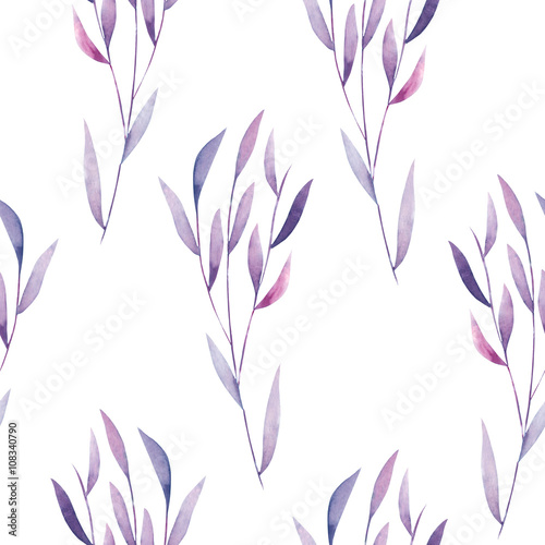 Seamless floral pattern with the watercolor purple leaves on the branches, hand drawn on a white background - 108340790