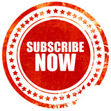 subscribe now, grunge red rubber stamp with rough lines and edge