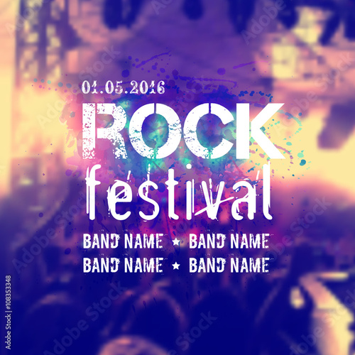 Fotobehang Muziek Vector blurred background with rock stage and crowd. Rock festival design template with place for text.