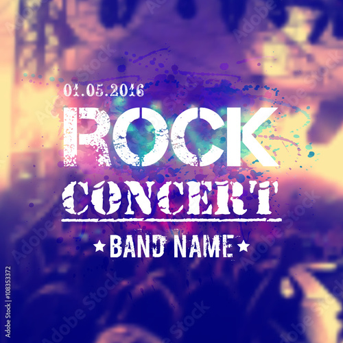 Fotobehang Muziek Vector blurred background with rock stage and crowd. Rock concert design template with watercolor splatter and place for text.