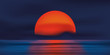 Coucher de soleil rouge - océan