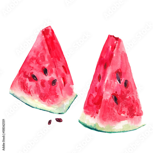 Poster Watercolor set with slices of watermelon