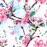 Watercolor seamless pattern with flowers apricot tree branches