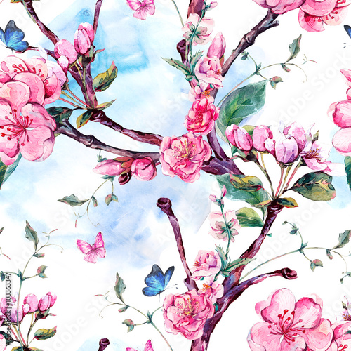 Cotton fabric Watercolor seamless pattern with flowers apricot tree branches
