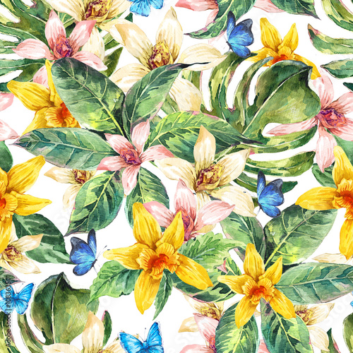 Cotton fabric Natural leaves watercolor seamless pattern, flower orchid