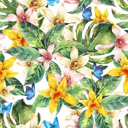 Stoffe zum Nähen Aquarell Musterdesign natürliche Blätter, Blume Orchidee