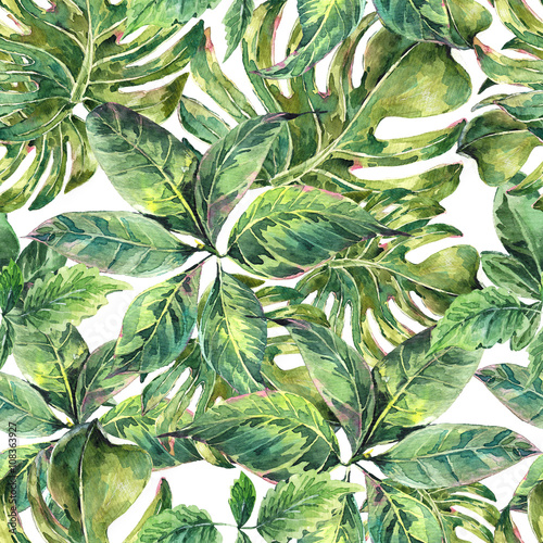 Cotton fabric Summer exotic watercolor seamless pattern