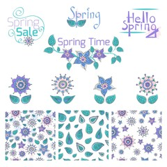 Set of hand drawn colorful flowers and leaves, seamless patterns and label designs. © Nesele