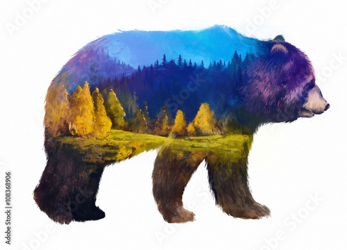 bear double exposure illustration