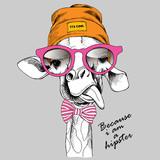Żyrafa w czapce i okularach, hipster