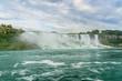 Niagara Falls closeup panorama at evening. Ontario, Canada.