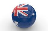 Soccer ball with Australia flag; 3d rendering