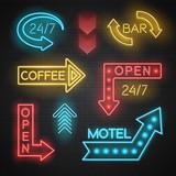 Fototapety Motel And Bar Neon Arrows Set