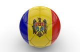 Soccer ball with Moldavia flag; 3d rendering