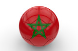 Soccer ball with Morocco flag; 3d rendering