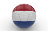 Soccer ball with Netherland flag; 3d rendering