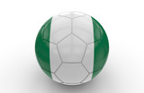 Soccer ball with Nigeria flag; 3d rendering