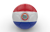 Soccer ball with Paraguay flag; 3d rendering