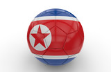 Soccer ball with North Korea flag; 3d rendering
