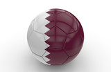 Soccer ball with Qatar flag; 3d rendering