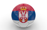 Soccer ball with Serbia flag; 3d rendering