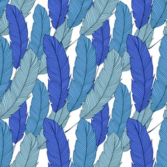 Seamless feather pattern. Vector illustration.