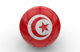 Soccer ball with Tunisia flag; 3d rendering