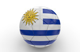 Soccer ball with Uruguay flag; 3d rendering