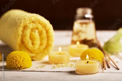 Foto op Plexiglas Spa SPA still life with towel, candles