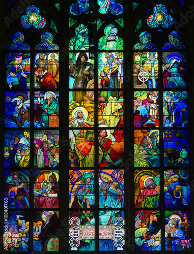 Poster Stained Glass in Prague Cathedral by Alphonse Mucha