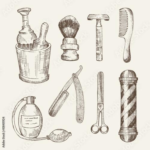 Retro illustrations of barber shop elements. Plakat