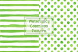 Fototapety Set of two watercolor seamless patterns, green color. Stripes and polka dot pattern. Watercolor seamless pattern for any your design project eco, natural, organic them. Or for print on any item.