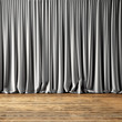 Concept picture highly detailed gray Curtains. Photo of backstage with textile curtains and wood floor. Abstract interior background. Square mockup. 3d rendering