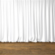 Concept picture highly detailed white Curtains. Photo of backstage with textile curtains and wood floor. Abstract interior background. Square mockup. 3d rendering