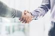 Detaily fotografie Business partnership meeting concept. Image businessmans handshake. Successful businessmen handshaking after good deal. Horizontal, blurred background