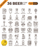 Fototapety Craft Beer pixel perfect outline icons