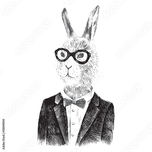 dressed up bunny boy in hipster style - 108441144